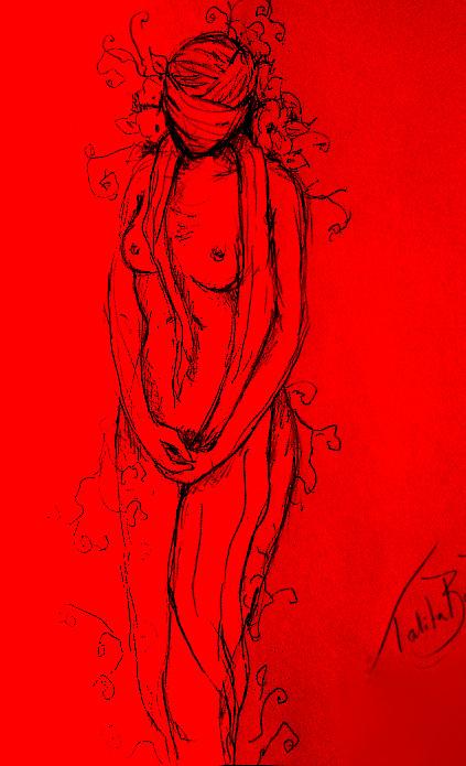Desenho à mão, editado digitalmente. Por Talita Rauber.
