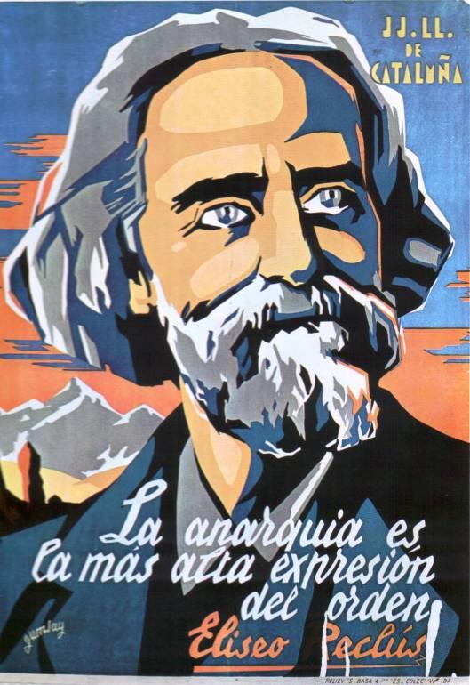 """Poster comemorativo para os jovens libertários (DD LL) da Catalunha, de 1937. """"A anarquia é a mais alta expressão da ordem""""."""