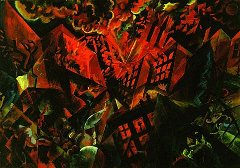 George Grosz, Explosion, 1917, oil on panel, 47.8 x 68.2 cm, Museum of Modern Art, New York.