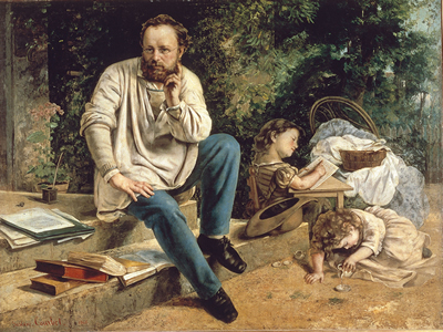 Proudhon e seus filhos, retratados por Gustave Courbet (1865-67). (Reprodução)